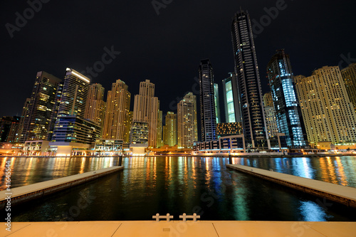 Dubai. Dubai Marina at night