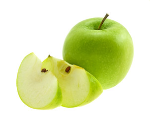 Green apple with slices isolated on a white background.