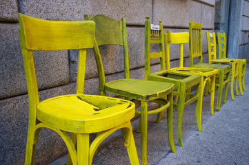 Old yellow chairs color image