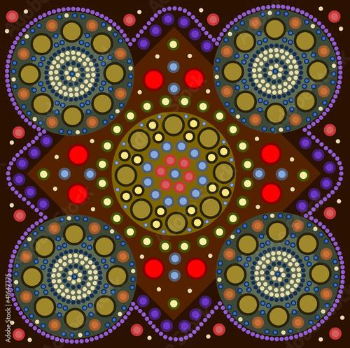 Illustration: a illustration based on aboriginal style of dot painting