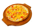 Appetizing pizza with cheese wooden tray, close-up on white back