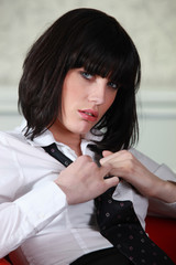 Disheveled sexy businesswoman