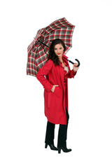 full-length portrait of glamorous brunette holding umbrella
