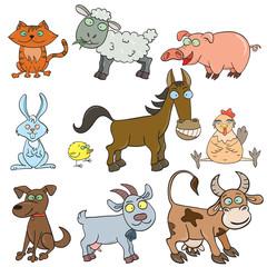 Farm animals doodle icon set