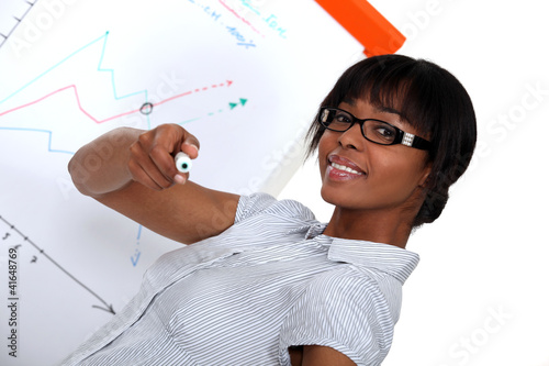 Woman with a marker in front of a flip chart