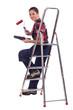 craftswoman painter holding a roller brush