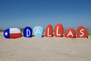 Dallas, city of Texas state on colourful stones