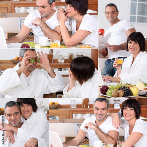 Collage of a couple having breakfast