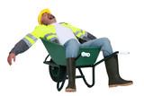Tradesman asleep in a wheelbarrow poster
