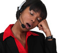 Call-center worker yawning