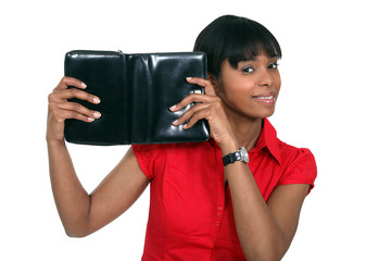 Woman with a leather personal organiser