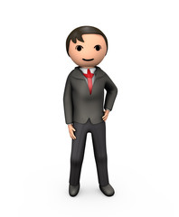3D Young Business Man in Suit Standing on White