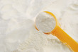 powder milk and yellow spoon
