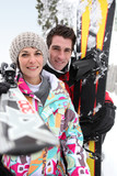 Couple out skiing together