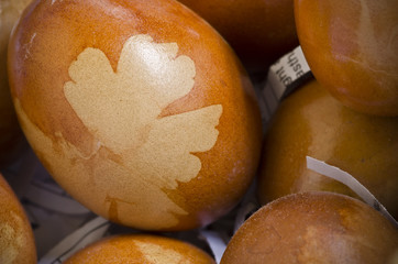 Brown decorated eggs with leaf pattern