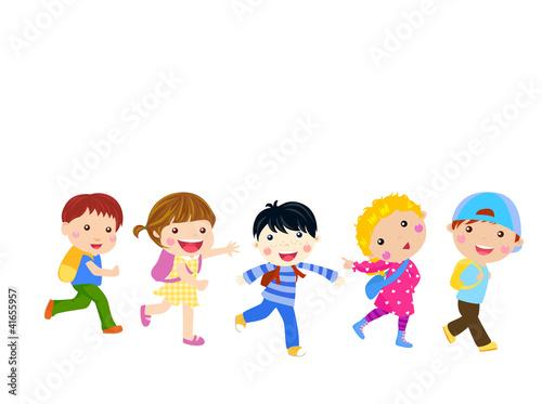 Fotobehang Indiërs Boys and girls go to school