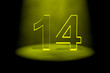 Number 14 illuminated with yellow light
