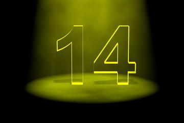 Number 14 illuminated with yellow light