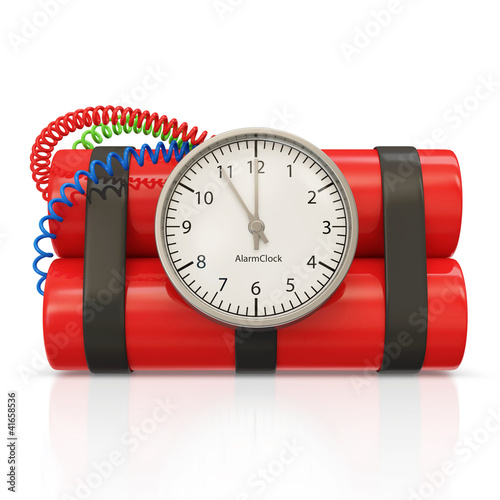 Dynamite Bomb with Clock Timer on white background
