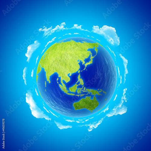 Asia. Beautiful Earth with clouds. Eastern hemisphere.