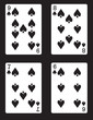 9,8,7,6 of Spades! Vector eps 8