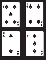 5,4,3,2 of Spades! Vector eps 8