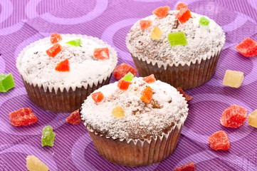 Set of sugary muffins cupcake