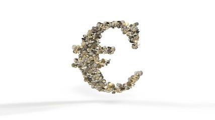 Euro made of coins exploding, Alpha