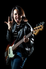 Rock Woman with Electric Bass Guitar