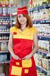 portrait woman seller in food supermarket