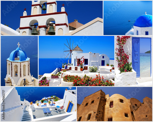 Foto op Canvas Collage of Santorini island, Greece travel images