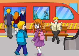 Cartoon illustration of subway station