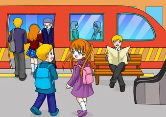 Cartoon illustration of subway station
