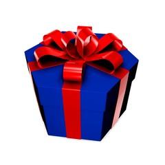 Синяя подарочная упаковка с красным бантом на белом фоне.