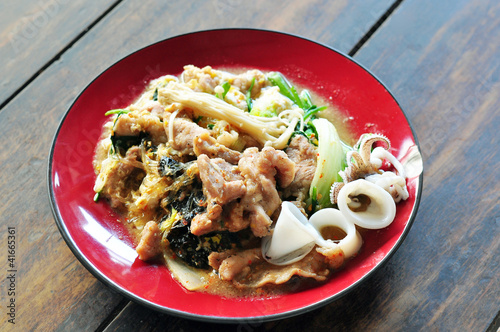 Sukiyaki with pork and squid, Asian cuisine