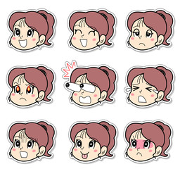 女の子の9表情