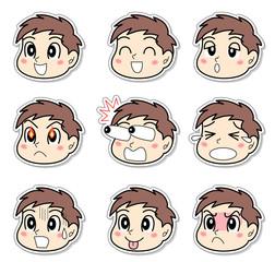男の子の9表情