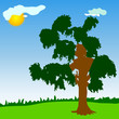 tree with green leave vector illustration