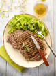 grilled t-bone with green salad