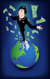 Businessman standing on the earth with banknotes