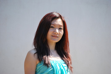 Portrait of Asian girl with a light blue dress 2