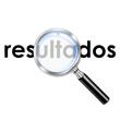 Icono lupa 3d con texto resultados