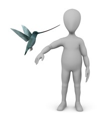 3d render of cartoon character with colibri