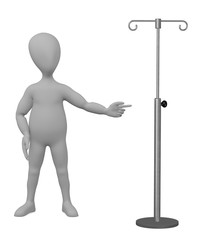 3d render of cartoon character with saline stand