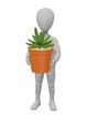 3d render of cartoon character with succulent plant
