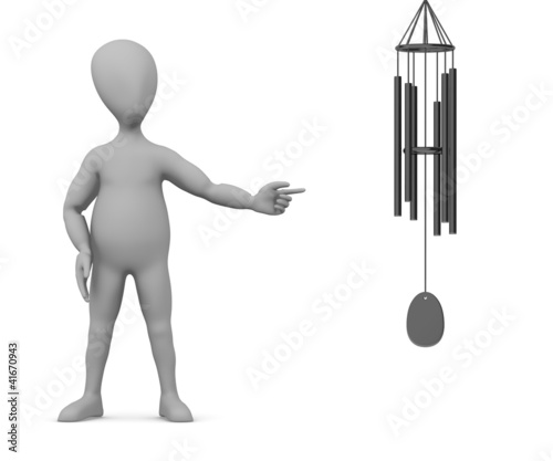 poster of 3d render of cartoon character with wind chimes
