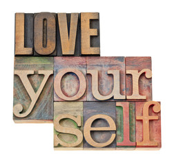 love yourself in wood type
