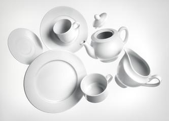 Vajilla platos tazas blancos porcelana
