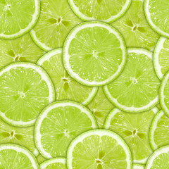 Seamless pattern of green lime slices