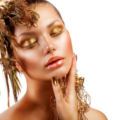 Golden Luxury Makeup. Fashion Girl Portrait